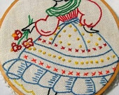 Hoop Art, Embroidery Hoop Art, Dancing Lady, Embroidery Wall Art, upcycled, Mexican Lady