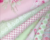 Coordinated Mix Fabrics for Shabby Chic Sewing Kits  Summer Boutique Clothing Home Decor Sewing in Pink, Green and Ivory Sold in Half Yards