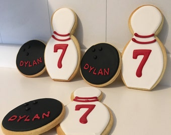 Custom Bowling Ball and Pin Cookies - 1 dozen