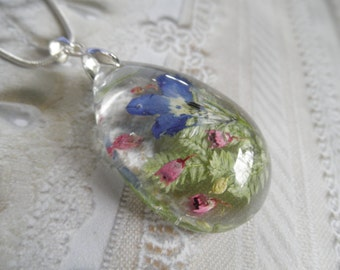 Blue Lobelia, Pink Heather, Frosted Ferns Glass Teardrop Dimensional Pressed Flower Pendant-Gifts Under 35-Symbolizes Loyalty, Admiration