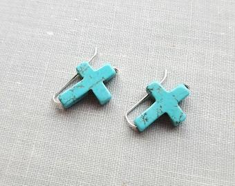 Turquoise Cross Stud Earrings. Ear Climbers. Sterling Silver