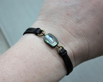 Abalone Shell Leather Bracelet