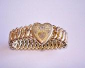 Heart Expansion Bracelet Jewelry Gold Tone Vintage Bracelet
