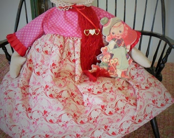 Primitive Folk Art Snowman Valentine Doll Antique Victorian Cap