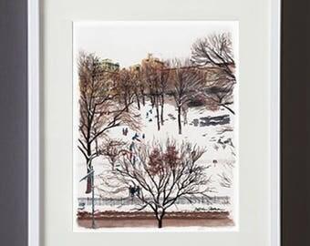 Snow Day in Morningside Park Watercolor of Harlem NYC Original Art Wall Art Framed