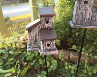 Mini Rustic Birdhouse Stake, White House, 3 Openings, Fairy Garden Accessory, Miniature Home and Garden Decor