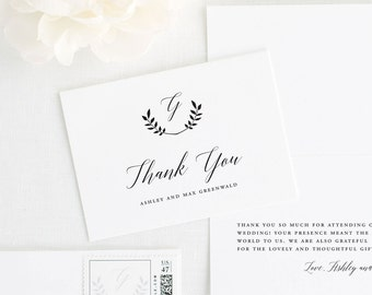 Wreath Monogram Thank You Cards