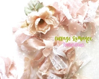 Pink Bow Garland. Shabby Chic Romantic - Cottage- Wedding - Photo Prop. Easter Spring Pastel