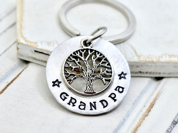 Family Tree Grandpa Keychain, Grandfather Gift, Grandpa Family Key Chain, Gift for Papa, Papa Keychain, Personalized Key Chain, Grandpa Gift