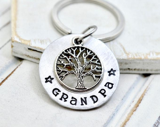 Family Tree Grandpa Keychain, Grandfather Gift, Grandpa Family Key Chain, Gift for Papa, Papa Keychain, Personalized Key Chain, Grandpa Gift