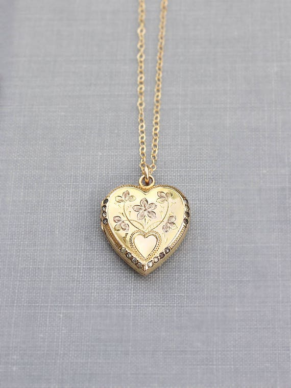 Gold Heart Locket Necklace, Gold Filled Vintage Stone Accented Photo Locket - Victoria