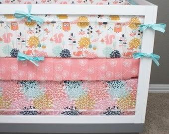 Meadow Baby Bedding Girl, Woodland Crib Bedding, Owl, Fox, Squirrel, Bird Forest Crib Bedding, Pink, Aqua, Coral, Gold, Dandelions, Floral