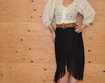 Vintage 80's Black South Western Suede Fringe Wrap Skirt Size Medium