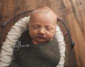 Newborn Photo Props, Newborn Wrap, Newborn Boy, Newborn Photography, Natural Newborn Wrap, Dark Olive, Rayon Wrap, Stretch Knit Wrap