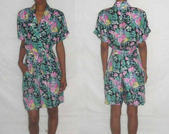 Vintage Stunning Rare Hattie Carnegie Multi-color Floral Print Silk Romper Jumpsuit Size Small
