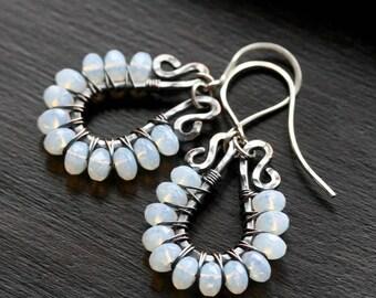 White beaded dangle earrings, milky white Czech glass, oxidized copper, wire wrapped earrings, hoop, chandelier, boho, Mimi Michele Jewelry