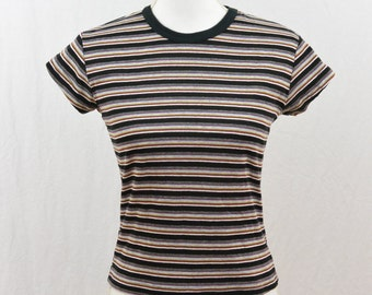Vintage Striped fitted Shirt, Size XS-Small, The Perfect Striped 90's Shirt, Skater, Tumblr Clothing, Grunge, Punk, Goth, Teen