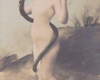 Eve and the Snake, hand-colored, circa 1900 by Henri Manuel