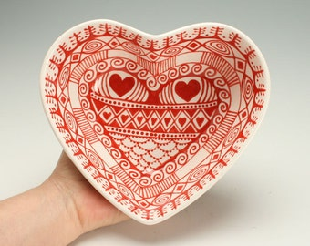 Heart Shaped Deep Bowl, Bohemian Red and White Serving Bowl, Red and White Heart Bowl, Valentines Day Gift, Candy Dish, Valentine Dinnerware