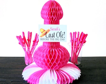 Penis party straws, kit, Bachelorette Party,  Pink tissue centerpiece,  Bachelorette Party supplies, decorations, Fiesta Bachelorette