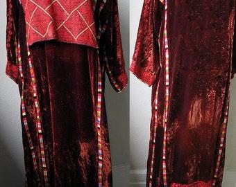 Rare Museum Quality Bedouin Hand Embroidered Velvet Tribal Caftan Wedding Dress
