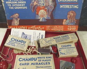 Vintage Chandu White King Magic Trick Set, Original Box, Instructions, Complete