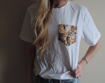 New CAT Pocket Tee Soft T-Shirt or Tank White or Grey // Size S-2XL