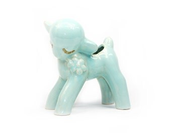 Vintage Lamb Figurine Planter: Seafoam Mint Green Lamb with Flower Made in Japan
