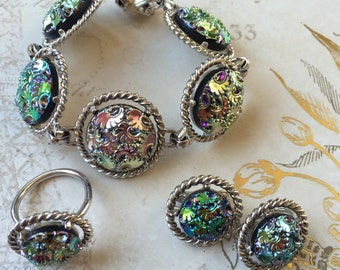 Vintage Sarah Coventry Signed Northern Lights Bracelet Clip On Earrings and Ring Set, Estate Jewelry