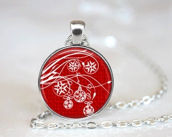 Christmas Necklace Christmas Jewelry Glass Tile Necklace Christmas Ornaments Glass Tile Jewelry Holiday Necklace Holiday Jewelry