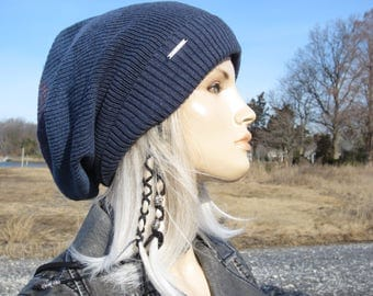 OMBRE Blues...Oversized Slouchy Tam Big Head Beanie Unique Denim Blue Stripe Thick Warm Winter Cuff Knit Dread Hat A1966