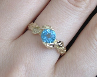 Leaf Ring, Blue Topaz Leaf Engagement Ring In yellow Gold, Engagement Ring With Blue Topaz, Leaves Ring, Forest Ring, Natural Floral Ring