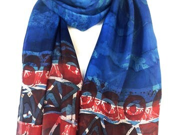 Silk scarf Red silk scarf Red scarf Red white and blue Blue silk scarf Batik scarf Hand Painted Silk Scarf Teacher gifts Gift for friend