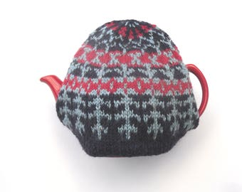 Purple tea cosy , Fair isle Tea Pot Cosy , hand knitted in acrylic / wool mix  , knitted colourwork , gift for her , kitchen decor