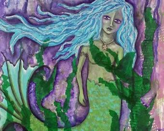 DARK WATERS, Mermaid, Teen Decor, Wall Art, Mixed Media, Art Print, Soulful Art, Fantasy Art, Mysterious, Ocean, Beach, Mixed Media Art