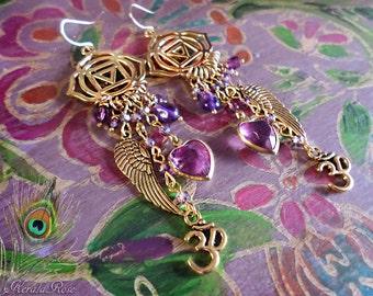 "Bright Gold Spiritual Ajna Chakra Dangle Charm Earrings, Amethyst Purple, Hearts, Crystal, Angel Wings, Om Symbol, Hindu, Buddhist, 4"""