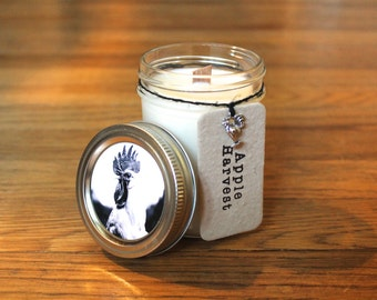 Apple Harvest Soy Candle - Soy Wax - Woodwick - Plantable Tag - Wildflower Seed Tag - 8 oz. Soy Candle - Americana - Rooster
