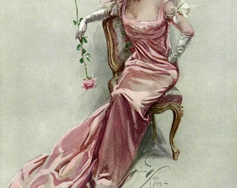 On Her Sunny Way She Goes by Harrison Fisher, Antique 1909 8x11 Book Art Print, Beautiful Woman, FREE SHIPPING