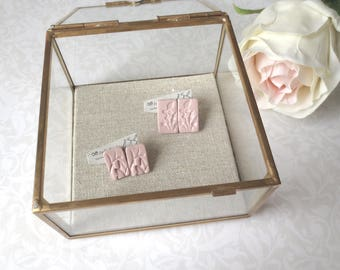 Botany - One Pair Rose Clay Post Earrings; Rectangular Millennial Pink Botanical Handmade Floral Gift Studs (Boucles Roses) by InfinEight