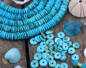 Deep Waters: Large Hole Aqua Teal & Brown Speckled Rondelle Disc Spacer Beads, 10x2mm, Boho Jewelry Making Supply, Bohemian Heishi, 80 pcs