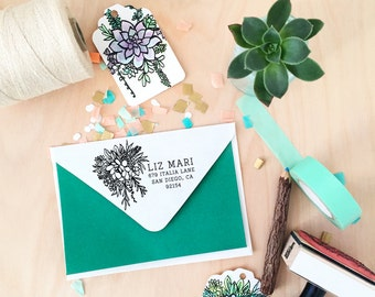 Custom Succulent Bouquet Address Stamp  - Perfect hostess gift or new home owner gift + The best gift for a succulent lover!