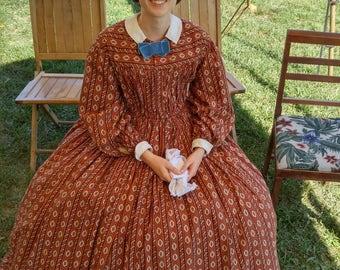1860's Civil War Era Dress, Mid 19th Century Dress, 1860-65 Dress for the Civil War Era