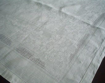 Vintage Linen Damask Tablecloth with Open Weave Floral Design and Hemstitching 66 Inches Long