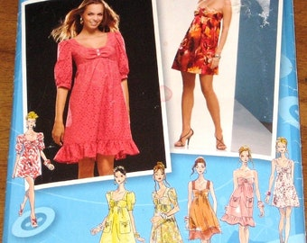 Sewing Pattern Simplicity Project Runway 2951 0614, Basic Mini Dress, Womens Misses Size 4 6 8 10 12 Bust 29 30 31 32 34 Uncut Factory Fold