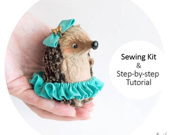 Sewing Kit Baby Hedgehog 9cm with Tutorial and Pattern