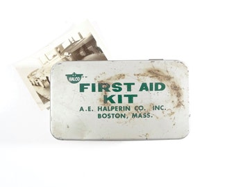 Vintage First Aid Kit / Halco of Boston First Aid Metal Box / Industrial Storage