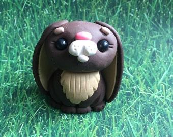 Little  Dark Brown Bunny Rabbit - Polymer Clay Sculpture - Cake Topper Keepsake - Art by Sarah Price