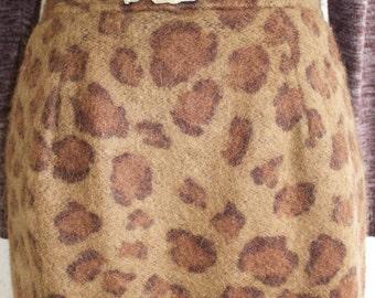 Vintage 60s Mohair Skirt, 1960s Leopard Print Skirt, High Waisted, Wool, Fuzzy, Animal