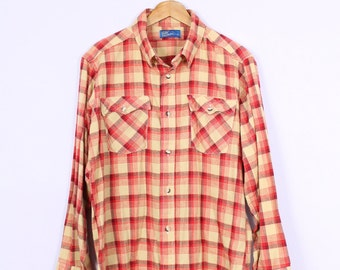 Vintage 1980's Red + Mustard Yellow Plaid Flannel Button Down Shirt L/XL