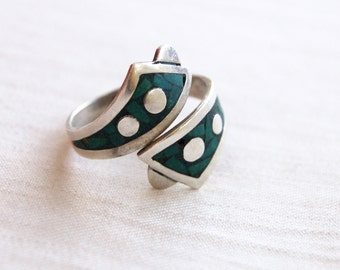 Turquoise Wrap Ring Mexican Sterling Silver Polkadot Bypass Wrap Ring Size 8 .5  Adjustable Statement Jewelry